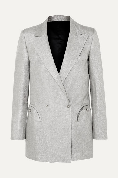 BLAZÉ MILANO Everyday Double-Breasted Metallic Linen-Blend Blazer in Silver