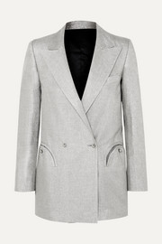 Blazé Milano Everyday double-breasted metallic linen-blend blazer