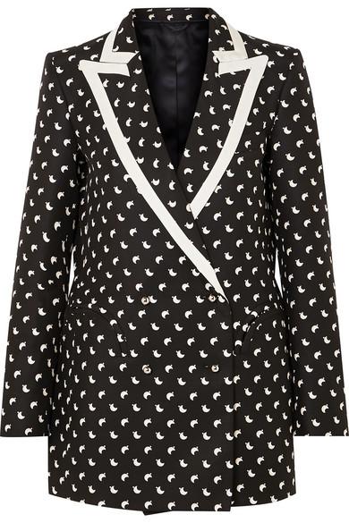 BLAZÉ MILANO Everyday Faille-Trimmed Printed Silk Blazer in Black