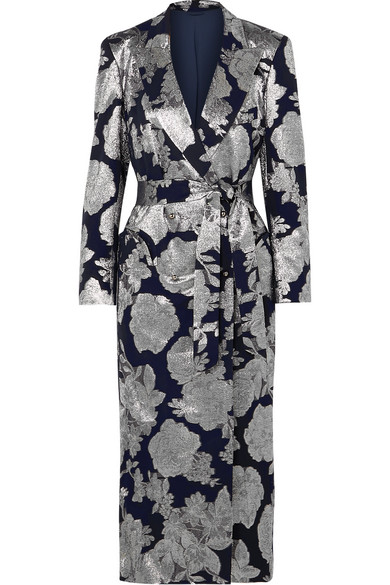 BLAZÉ MILANO Double-Breasted Silk-Blend Jacquard Midi Dress in Silver
