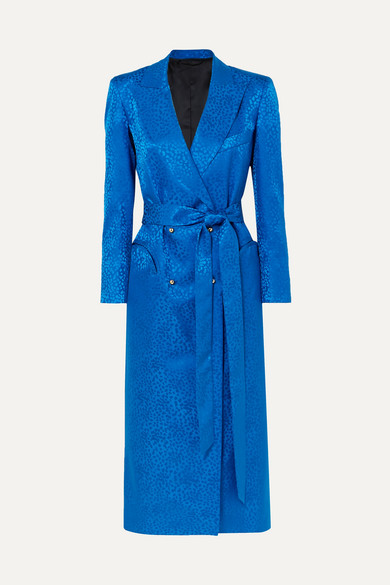 BLAZÉ MILANO Double-Breasted Silk-Jacquard Midi Dress in Cobalt Blue