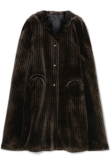 BLAZÉ MILANO Metallic Striped Velvet Cape in Black