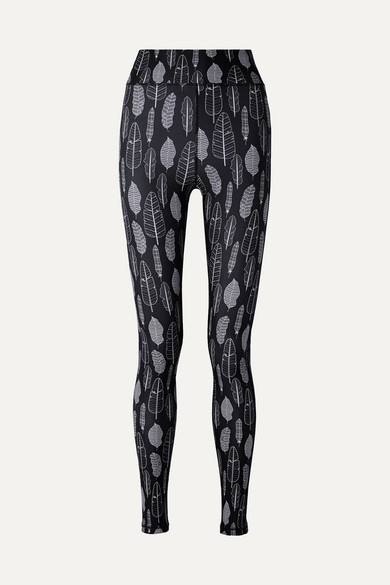 THE UPSIDE | The Upside - Dance Printed Stretch Leggings - Midnight blue | Goxip