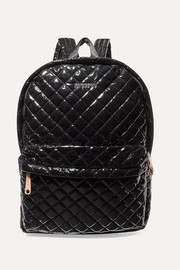 Metro leather-trimmed quilted vinyl backpack