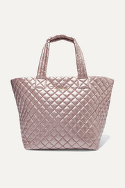 Metro medium metallic quilted shell tote