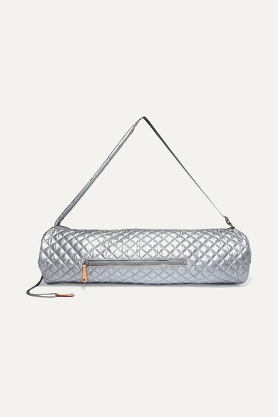 Leather-Trimmed Metallic Quilted Shell Yoga Mat Bag in Silver