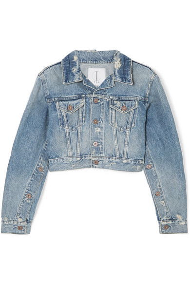 TRE Cropped Distressed Denim Jacket in Light Denim