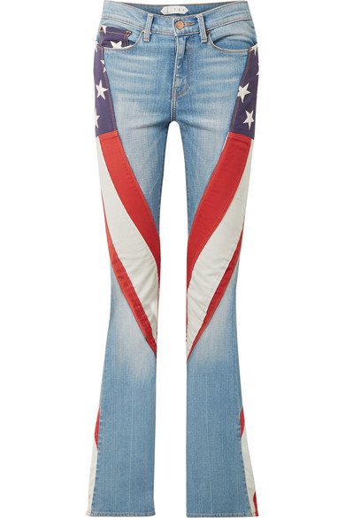 TRE Marianne embroidered cotton canvas-paneled high-rise flared jeans