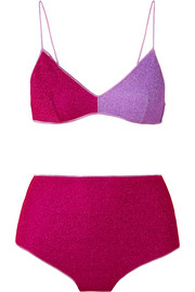Oséree Lumière color-block stretch-Lurex bikini