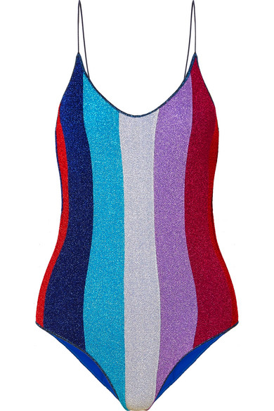 Oséree - Lumière Striped Stretch-lurex Swimsuit - Blue