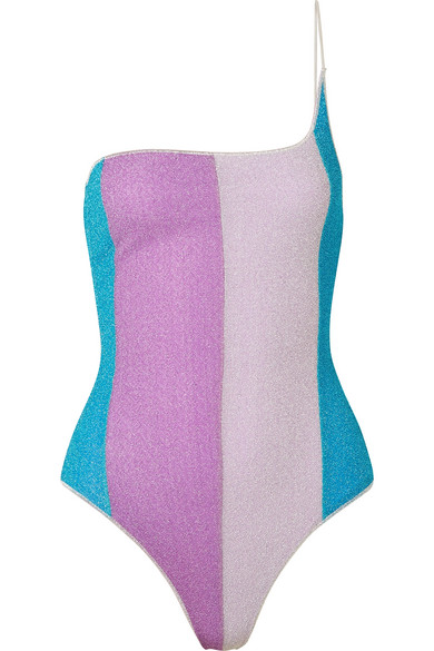 OSEREE LUMIÈRE ONE-SHOULDER STRIPED STRETCH-LUREX SWIMSUIT