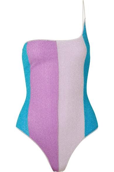 533b3190dc9 Oséree | Lumière one-shoulder striped stretch-Lurex swimsuit | NET-A ...