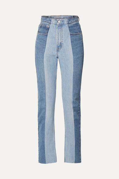 E.L.V. DENIM The Twin Two-Tone High-Rise Straight-Leg Jeans in Mid Denim