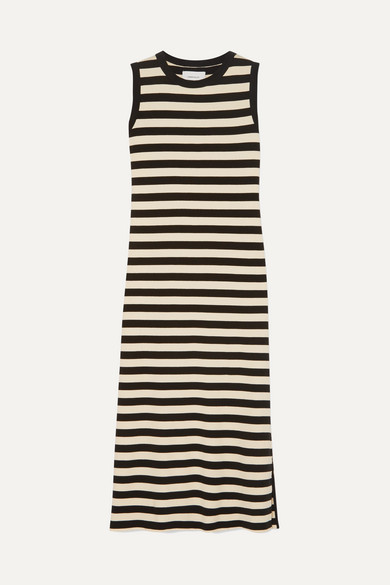 2a4503896c Current Elliott. The Perfect Muscle Tee striped cotton-jersey dress