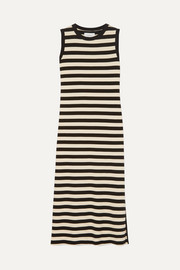 Current/Elliott The Perfect Muscle Tee striped cotton-jersey dress