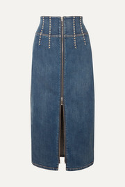 The Trilby studded denim midi skirt