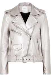 Current/Elliott The Shaina metallic textured-leather biker jacket