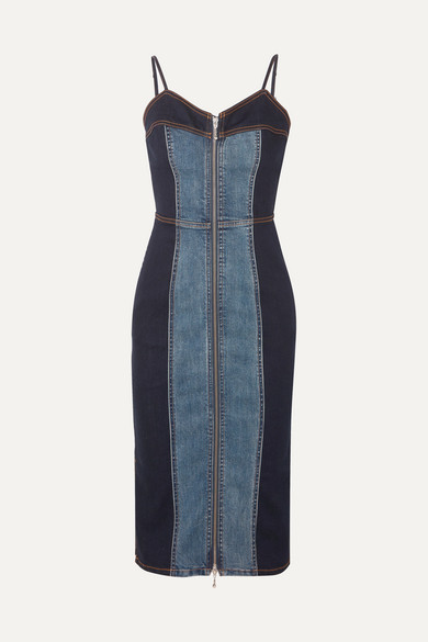 29a6c83938 Current Elliott. The Jacqueline two-tone stretch-denim dress