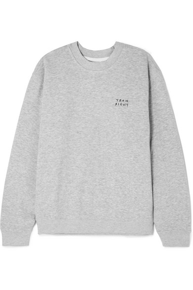 YEAH RIGHT NYC Yeah Right Embroidered Cotton-Blend Jersey Sweatshirt in Gray