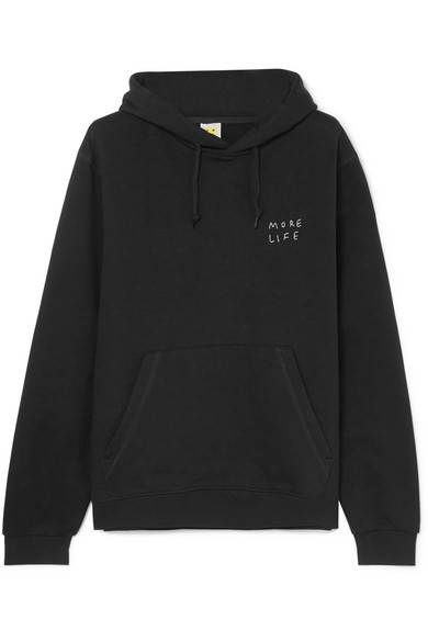 YEAH RIGHT NYC More Life Oversized Embroidered Cotton-Blend Hoodie in Black