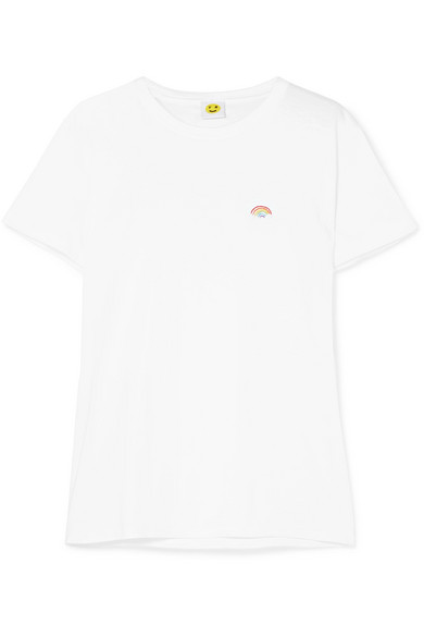 YEAH RIGHT NYC Rainbow Embroidered Cotton-Jersey T-Shirt in White
