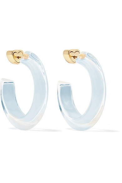 ALISON LOU SMALL JELLY 14-KARAT GOLD-PLATED, ENAMEL AND LUCITE HOOP EARRINGS