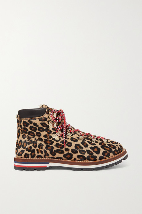 Leopard print Blanche shearling-lined calf hair ankle boots | Moncler jOe35t