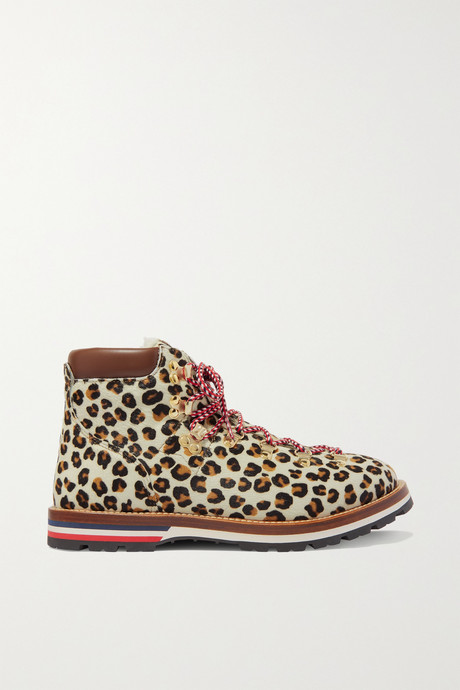 Leopard print Blanche shearling-lined calf hair ankle boots  | Moncler Y33LTu