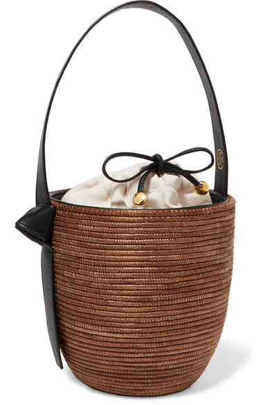 Lunchpail Leather Trimmed Woven Sisal Bucket Bag by Cesta Collective