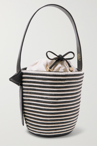 CESTA COLLECTIVE Lunchpail Leather-Trimmed Woven Sisal Bucket Bag in Navy