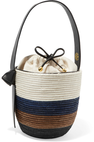 CESTA COLLECTIVE Lunchpail Leather-Trimmed Woven Sisal Bucket Bag in White