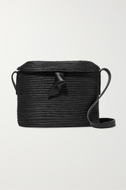 Cesta Collective Leather-trimmed woven sisal shoulder bag