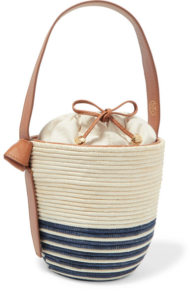 CESTA COLLECTIVE Lunchpail Leather-Trimmed Woven Sisal Bucket Bag in Beige