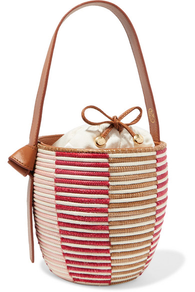 CESTA COLLECTIVE Lunchpail Leather-Trimmed Woven Sisal Bucket Bag in Red