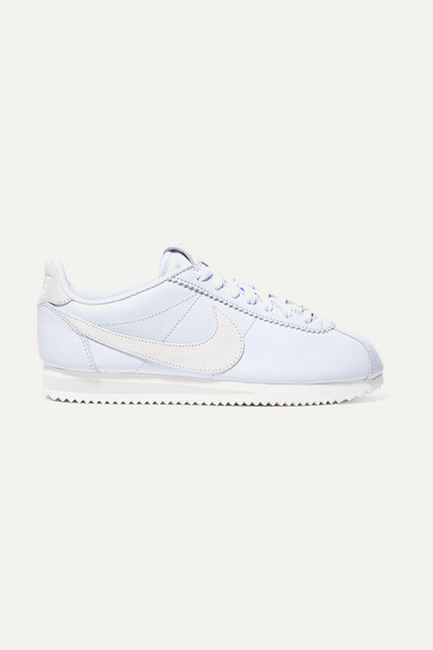 Classic Cortez Faux Suede-Trimmed Leather Sneakers, Light Blue