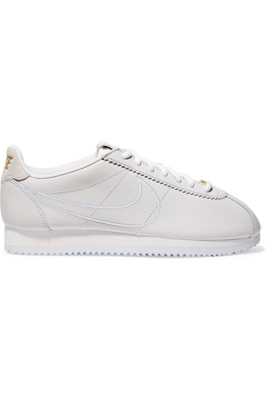 Classic Cortez Faux Suede-Trimmed Leather Sneakers, White