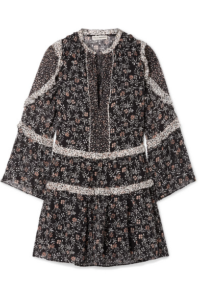 Essie Ruffled Floral Print Fil Coupé Silk Blend Chiffon Mini Dress by Ulla Johnson