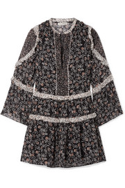 Ulla Johnson Essie ruffled floral-print fil coupé silk-blend chiffon mini dress