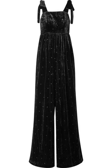 ebe8ba5de946 Ulla Johnson. Minnet bow-embellished Swiss-dot velvet jumpsuit