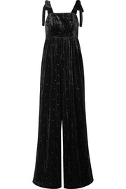 Ulla Johnson Minnet bow-embellished Swiss-dot velvet jumpsuit