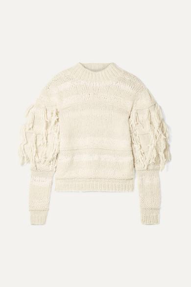 ULLA JOHNSON Delma Fringed Alpaca And Cotton-Blend Sweater in Cream