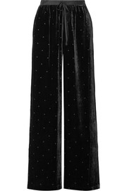 Ulla Johnson Maia grosgrain-trimmed Swiss-dot velvet wide-leg pants