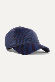 Marilyn leather-trimmed cotton-blend velvet-jacquard baseball cap