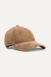 Marilyn leather-trimmed suede baseball cap
