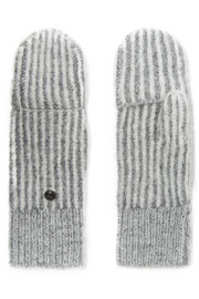 Jonie striped ribbed-knit mittens