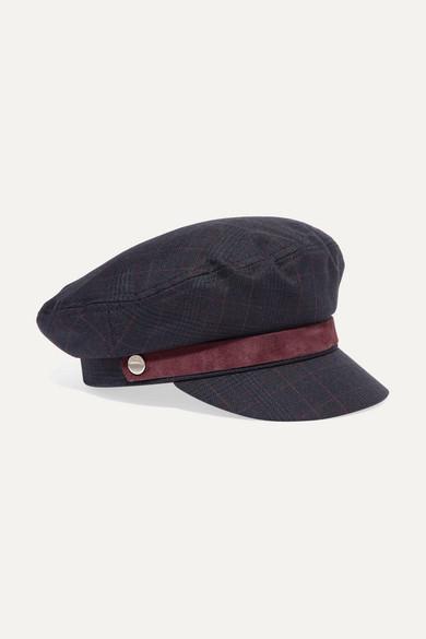 Velvet-Trimmed Checked Tweed Cap in Navy