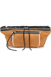 Elliot large shearling-trimmed suede belt bag