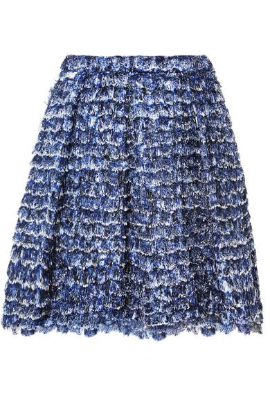 Fringed printed crepe mini skirt from NET-A-PORTER
