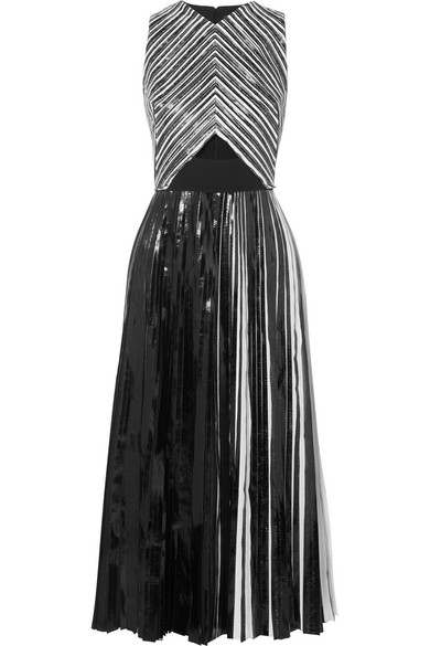 Pleated coated-cloqué midi dress from NET-A-PORTER