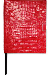 Mara croc-effect leather notebook